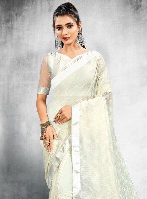 Sequins Faux Georgette Off White Classic Designer Saree