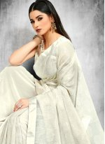 Sequins Faux Georgette Off White Trendy Saree