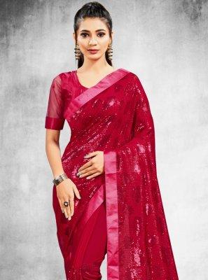 Sequins Faux Georgette Rani Classic Designer Saree