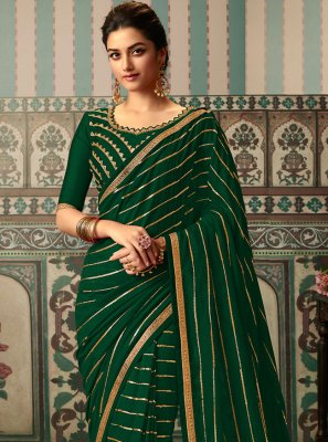 Sequins Green Designer Traditional Saree