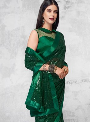 Sequins Green Faux Georgette Designer Saree