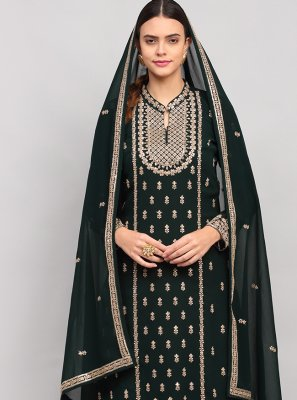 Sequins Green Georgette Designer Palazzo Salwar Kameez