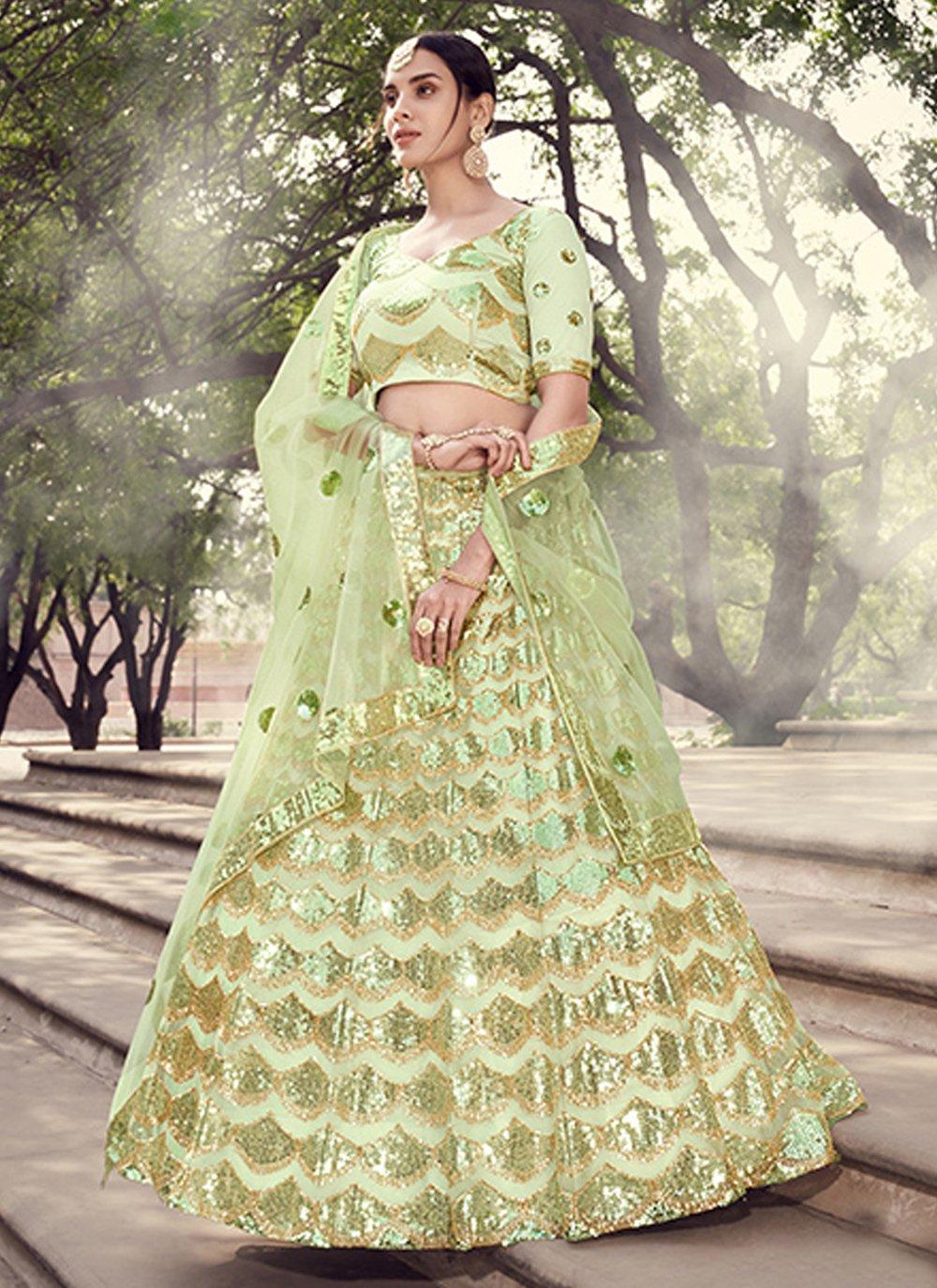 Sequins Green Lehenga Choli