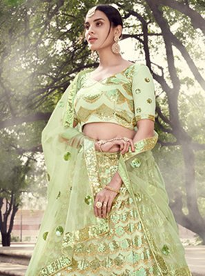 Sequins Green Lehenga Choli