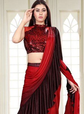 Sequins Lycra Black and Red Shaded Saree