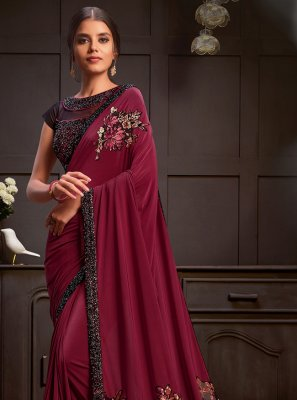 Sequins Lycra Designer Saree in Maroon