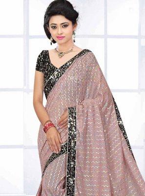 Sequins Lycra Pink Classic Saree
