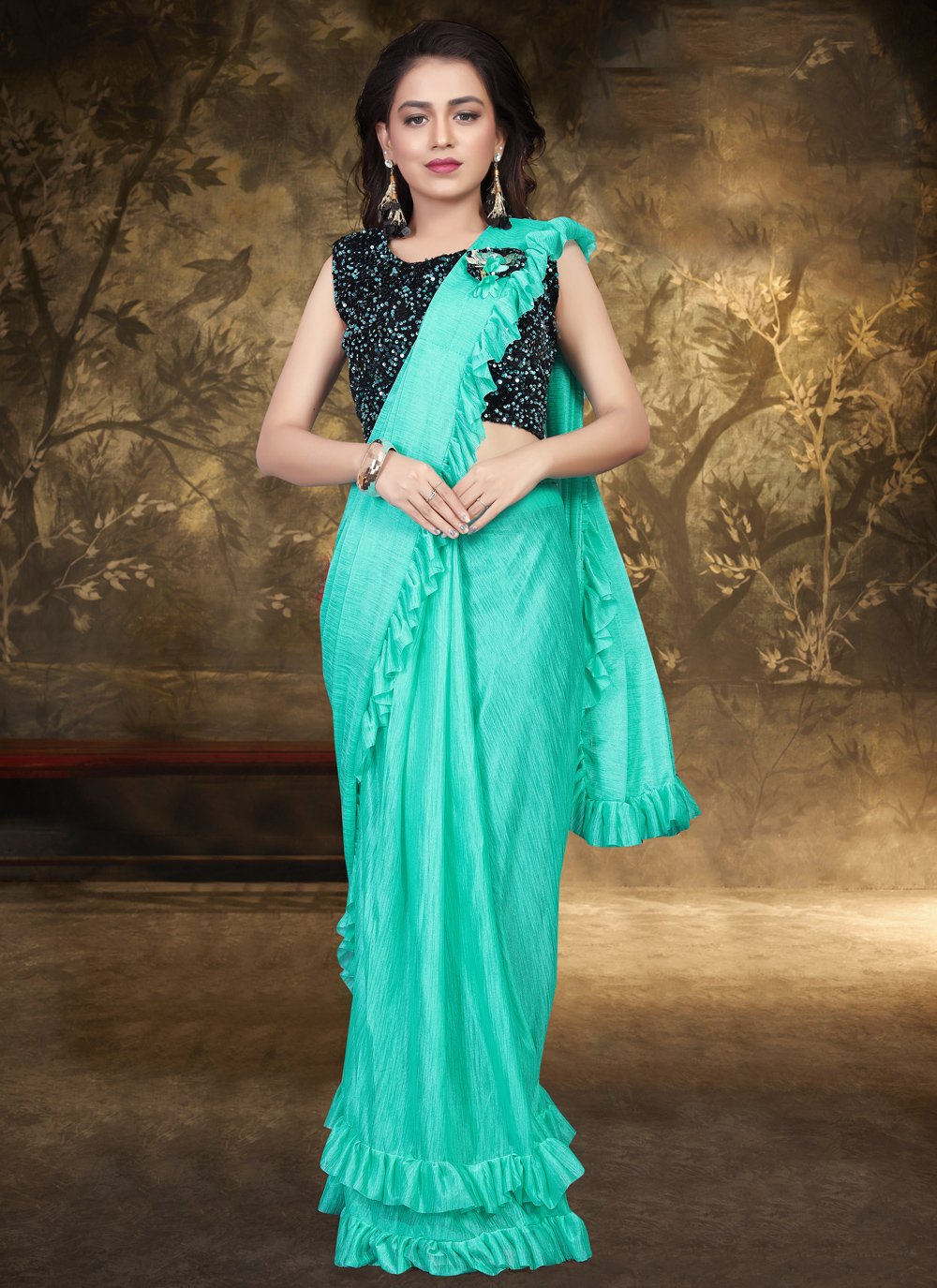 Sequins Lycra Trendy Saree in Firozi