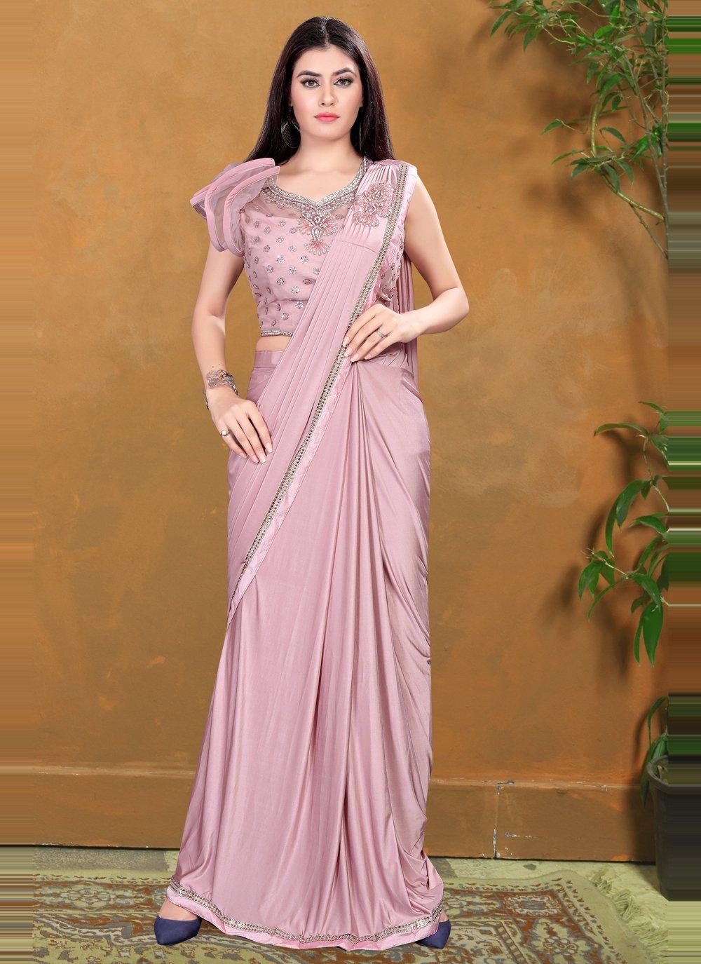 Sequins Lycra Trendy Saree in Lavender
