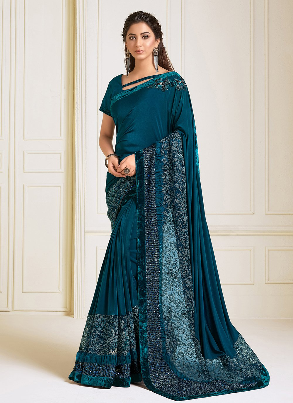 Sequins Lycra Trendy Saree in Teal