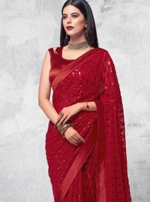 Sequins Maroon Designer Saree