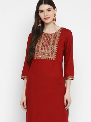 Sequins Maroon Party Wear Kurti