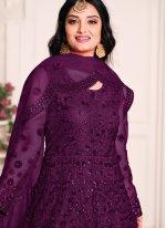 Sequins Net Floor Length Anarkali Suit in Purple