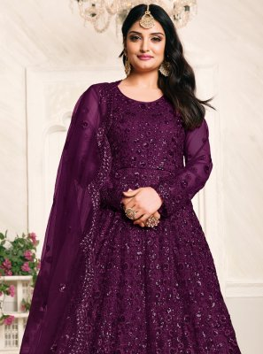 Sequins Net Floor Length Anarkali Suit in Purple