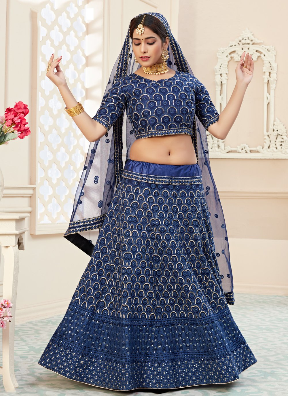 Sequins Net Lehenga Choli in Blue