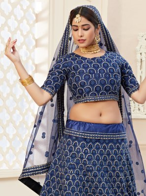 Sequins Net Lehenga Choli in Blue