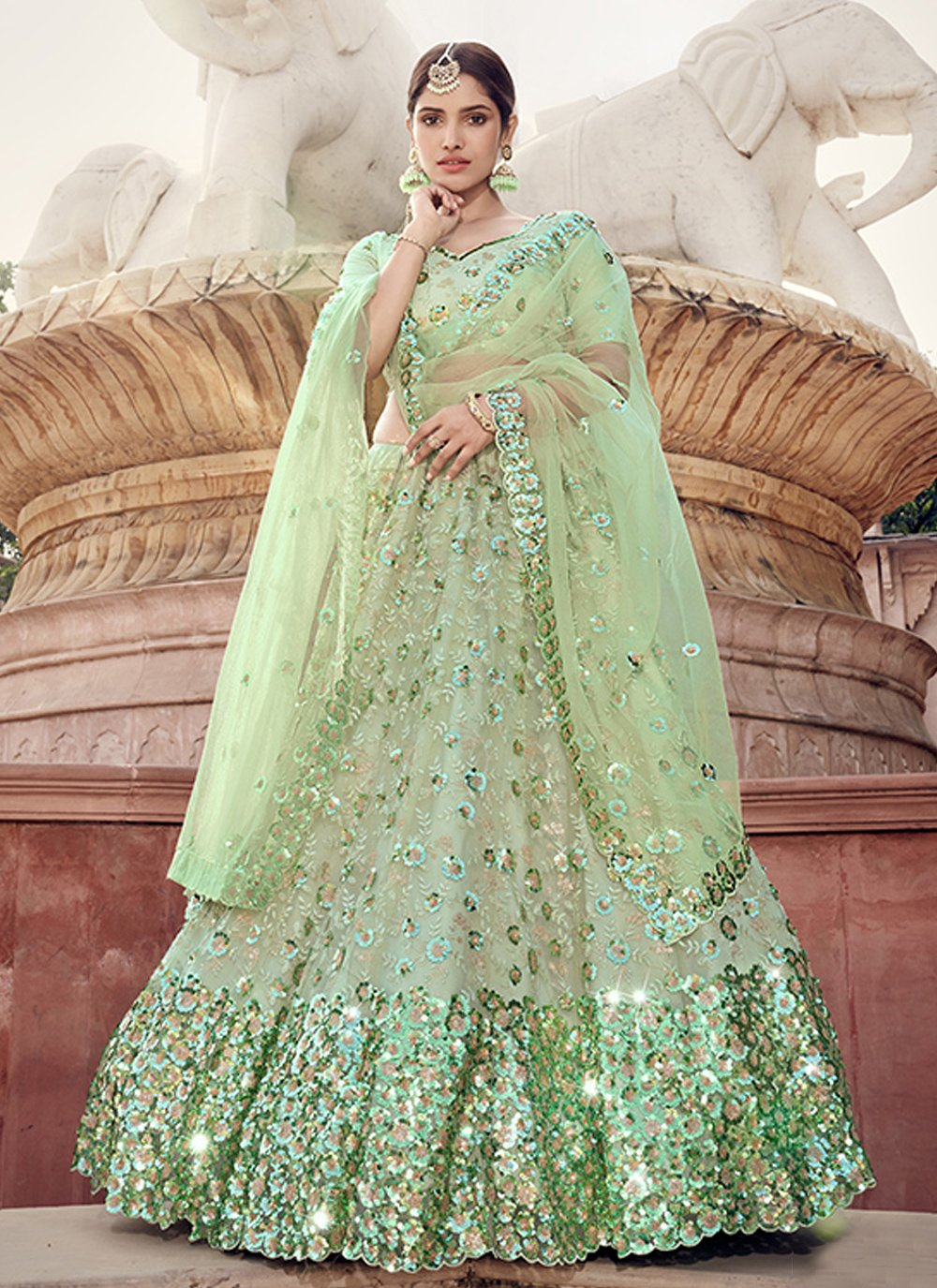 Sequins Net Lehenga Choli in Green
