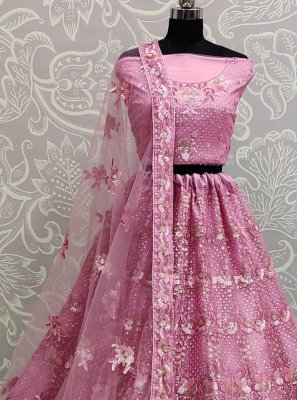 Sequins Net Lehenga Choli in Pink