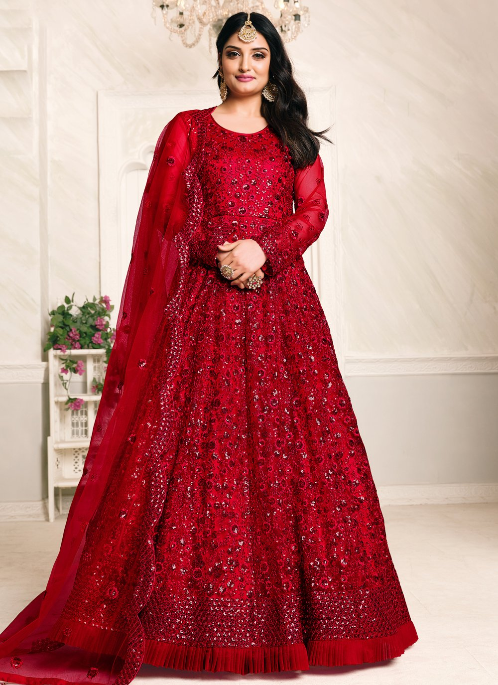 Sequins Net Red Floor Length Anarkali Suit
