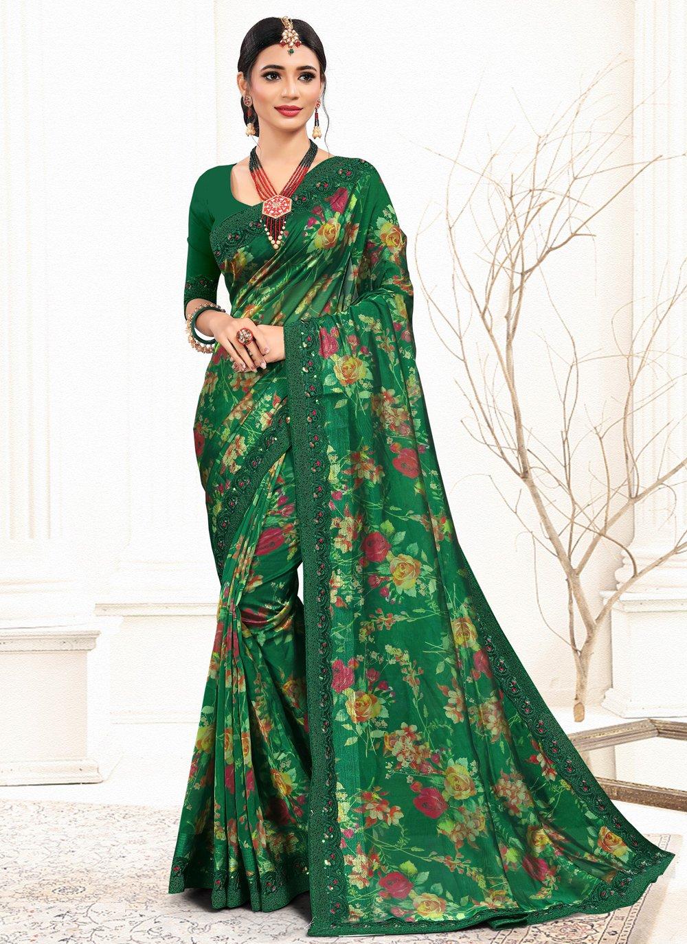 Sequins Organza Green Classic Saree