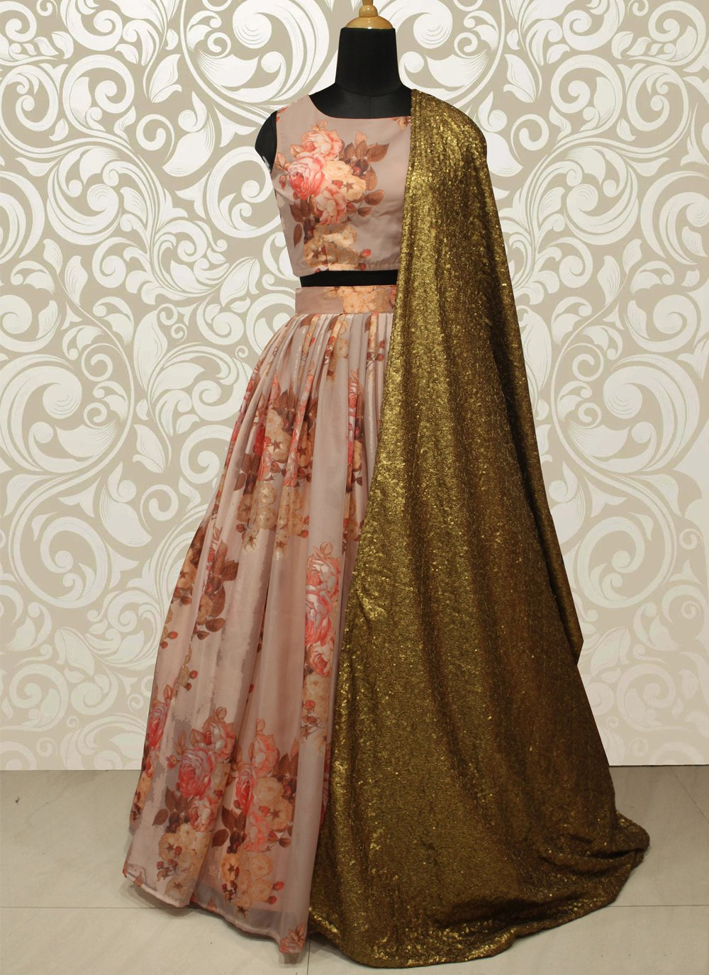 Sequins Peach Organza Lehenga Choli