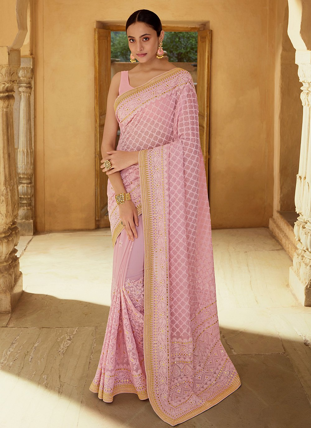 Sequins Pink Georgette Classic Saree