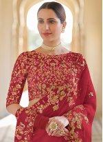 Sequins Red Classic Designer Saree