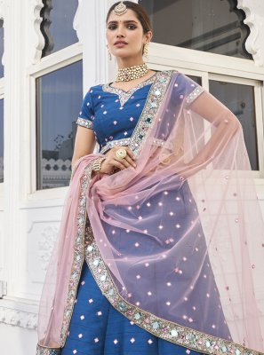 Sequins Silk Designer Lehenga Choli in Blue