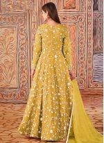 Sequins Yellow Net Floor Length Designer Suit