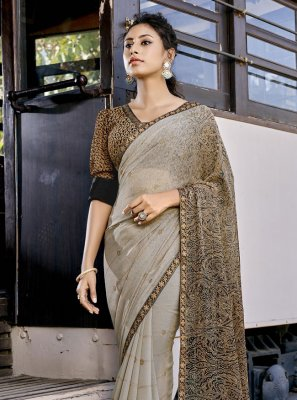 Shaded Saree Abstract Print Faux Georgette in Grey
