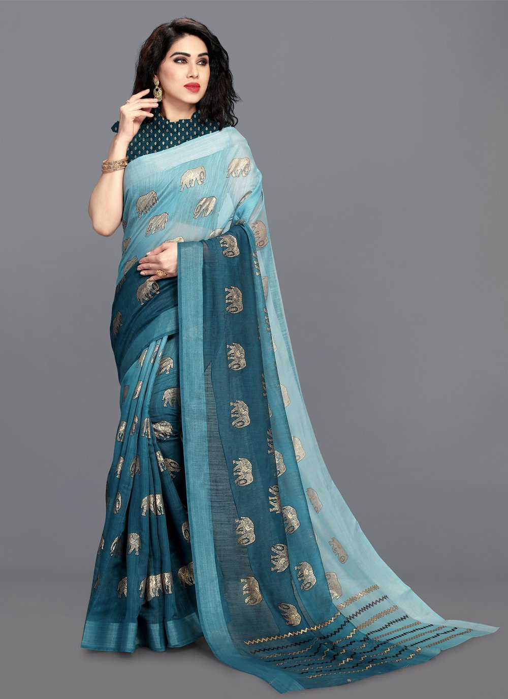 Shaded Saree Foil Print Cotton in Turquoise