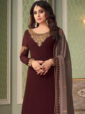 Shamita Shetty Brown Faux Georgette Embroidered Designer Palazzo Salwar Kameez