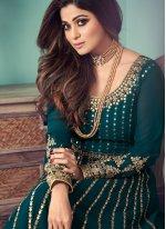 Shamita Shetty Designer Floor Length Suit For Festival