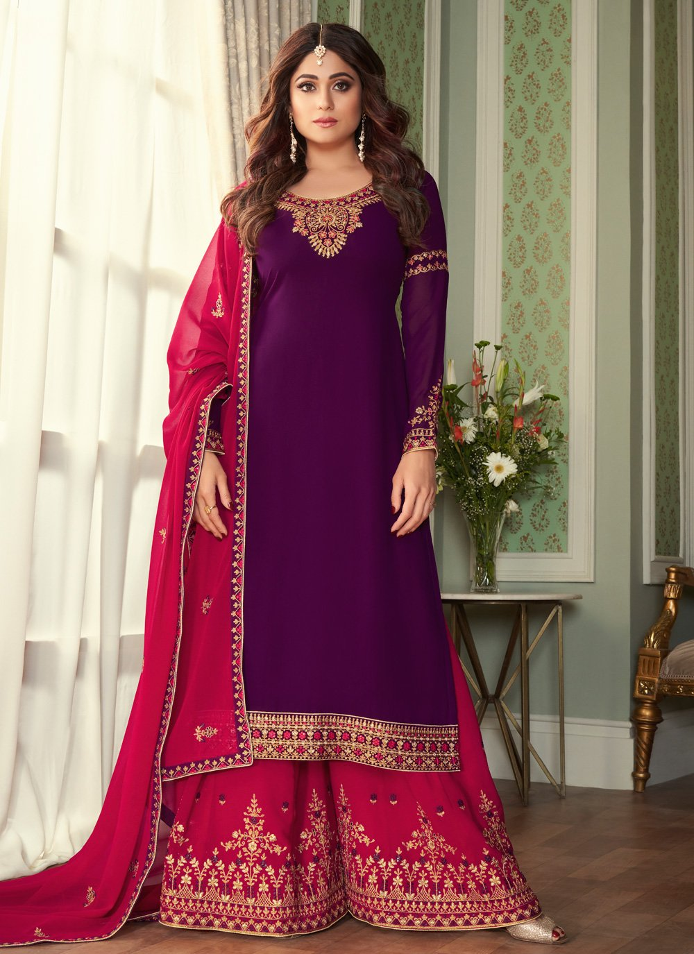 Shamita Shetty Designer Palazzo Salwar Suit For Festival