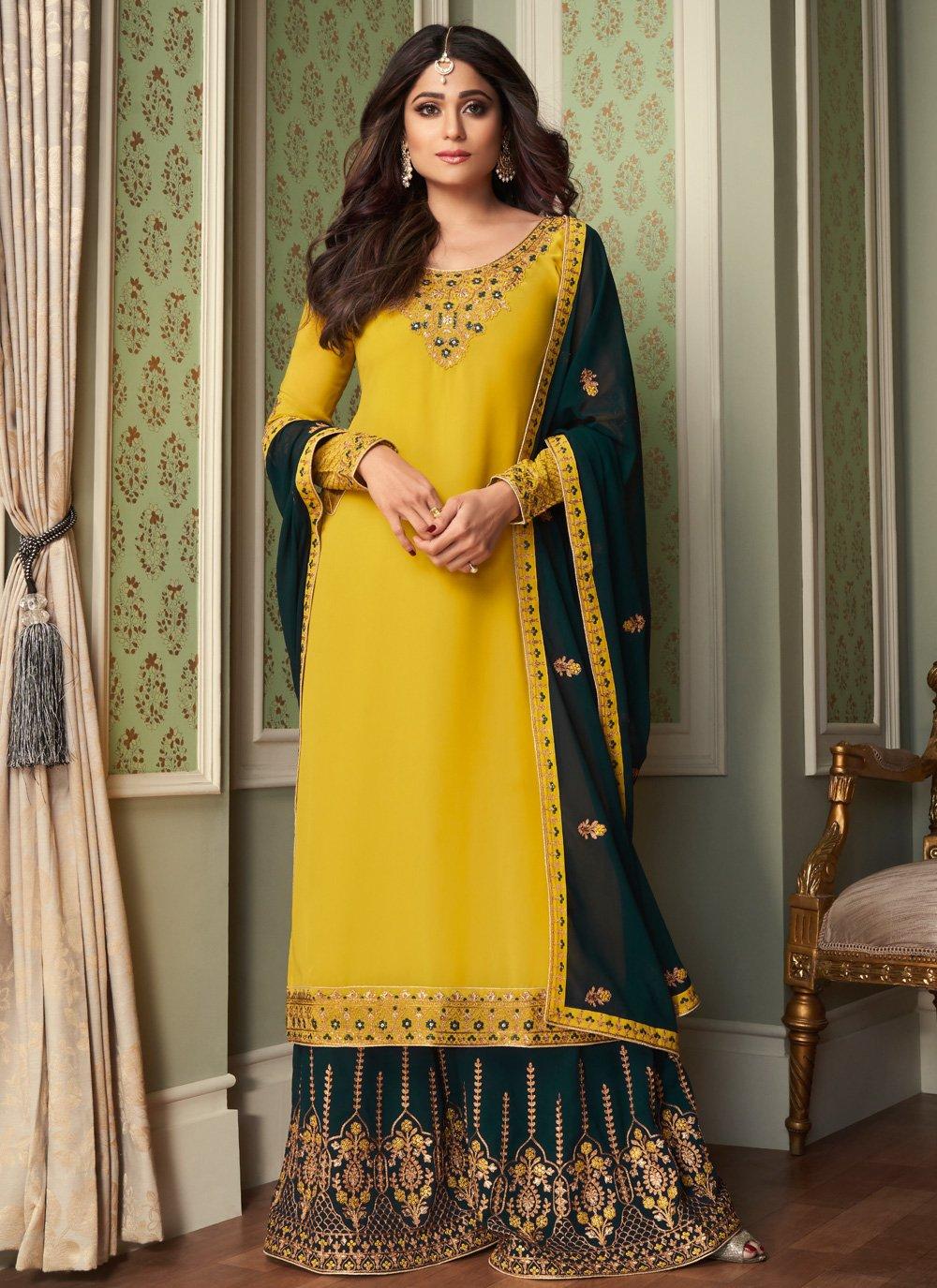 Shamita Shetty Designer Palazzo Suit
