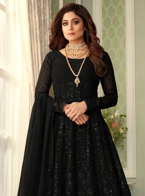 Shamita Shetty Embroidered Black Floor Length Anarkali Suit
