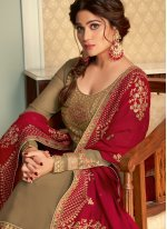 Shamita Shetty Embroidered Brown and Rani Faux Georgette Long Choli Lehenga