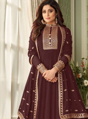Shamita Shetty Embroidered Brown Floor Length Designer Suit
