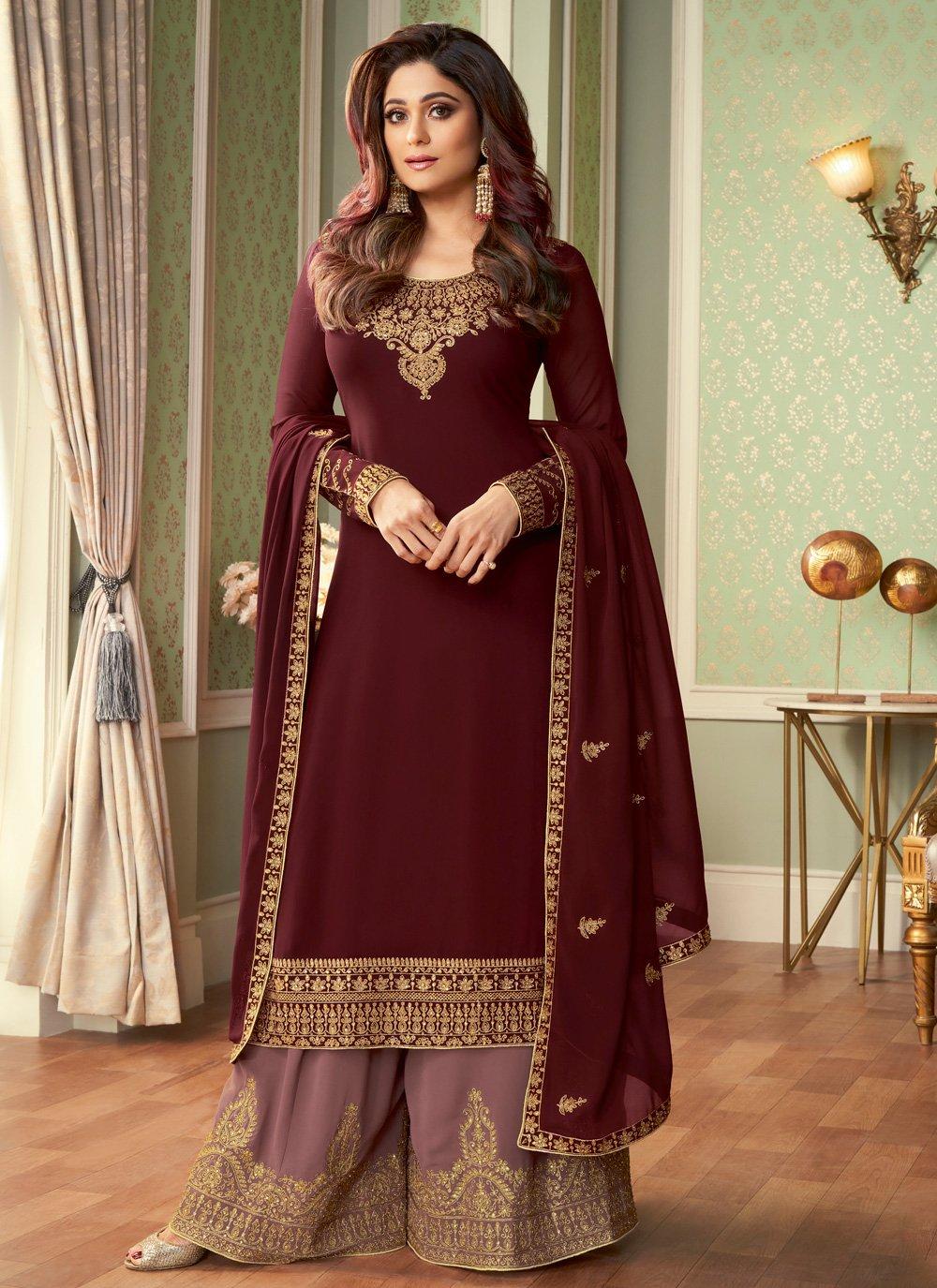 Shamita Shetty Embroidered Maroon Designer Palazzo Suit