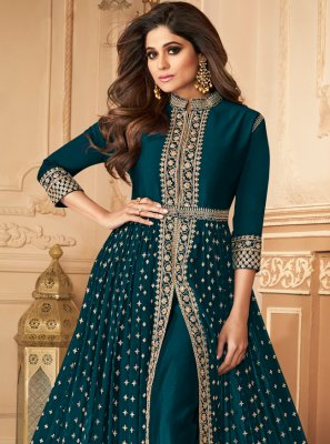 Shamita Shetty Embroidered Teal Designer Floor Length Suit