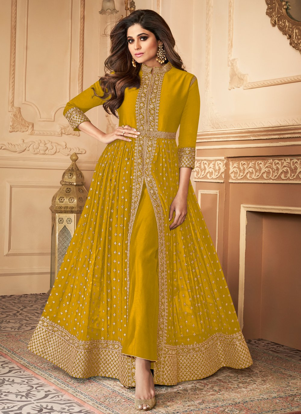Shamita Shetty Faux Georgette Designer Floor Length Suit