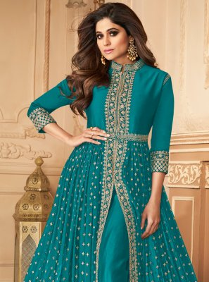 Shamita Shetty Faux Georgette Embroidered Blue Designer Floor Length Suit