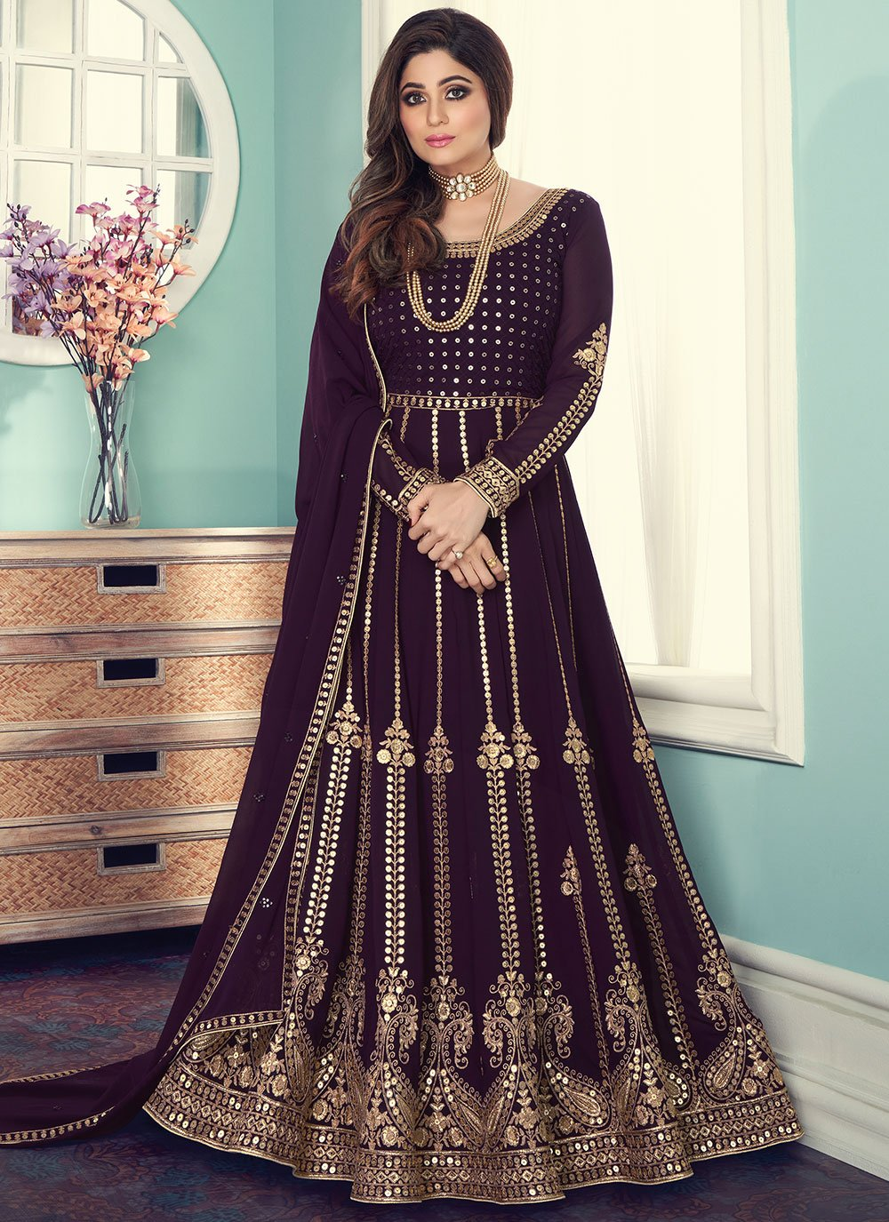 Shamita Shetty Faux Georgette Embroidered Designer Floor Length Suit