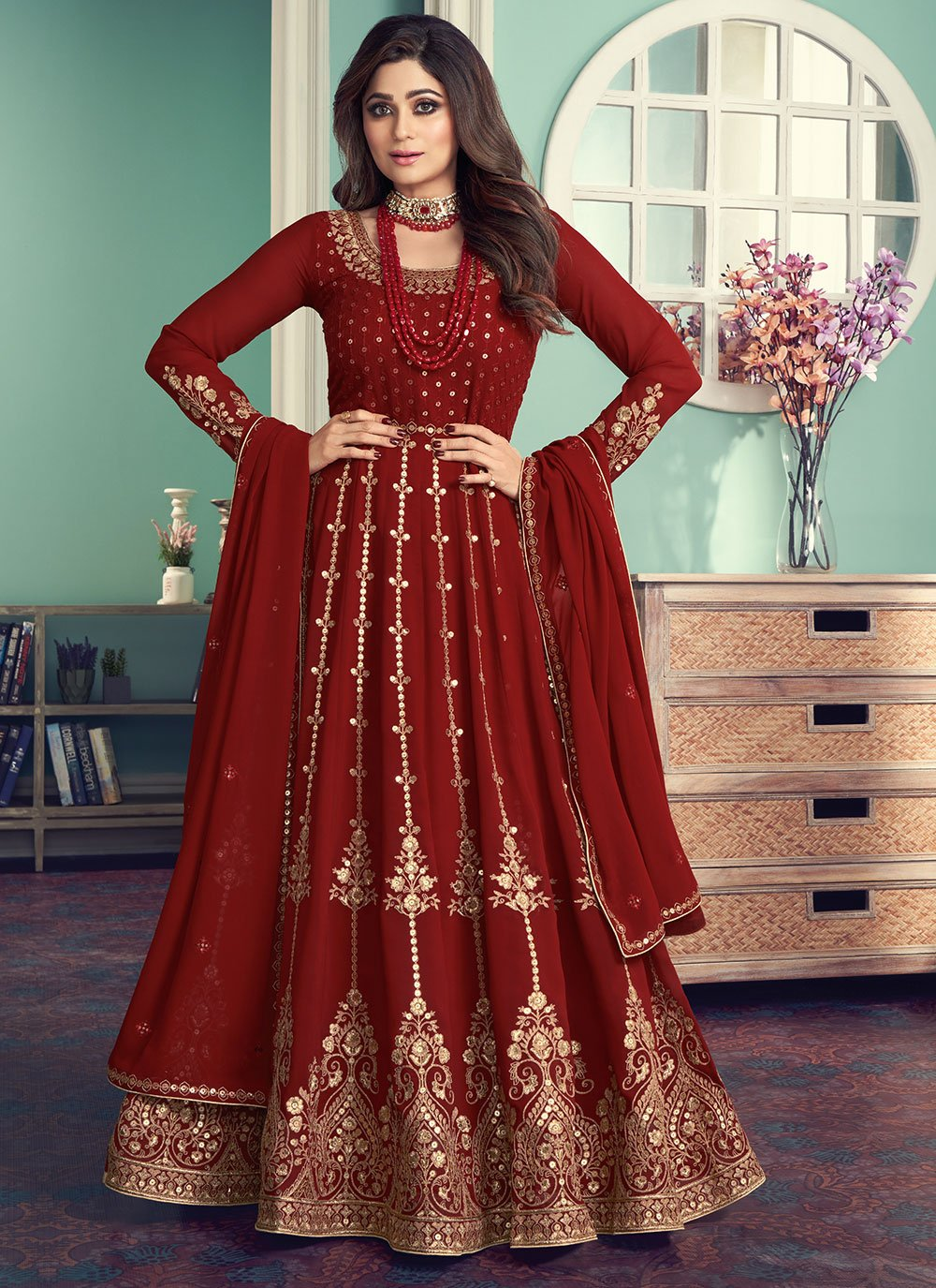 Shamita Shetty Faux Georgette Embroidered Maroon Designer Floor Length Suit