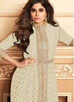 Shamita Shetty Faux Georgette Embroidered Off White Designer Floor Length Suit
