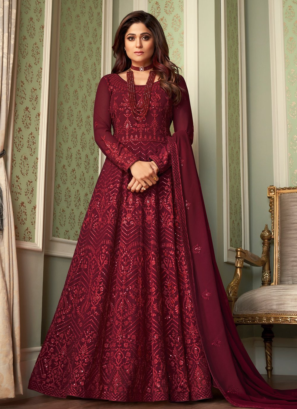 Shamita Shetty Faux Georgette Engagement Floor Length Anarkali Suit