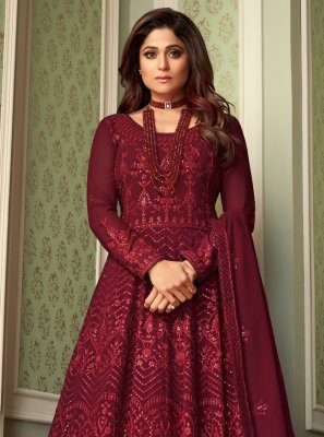 Shamita Shetty Faux Georgette Engagement Floor Length Anarkali Suit