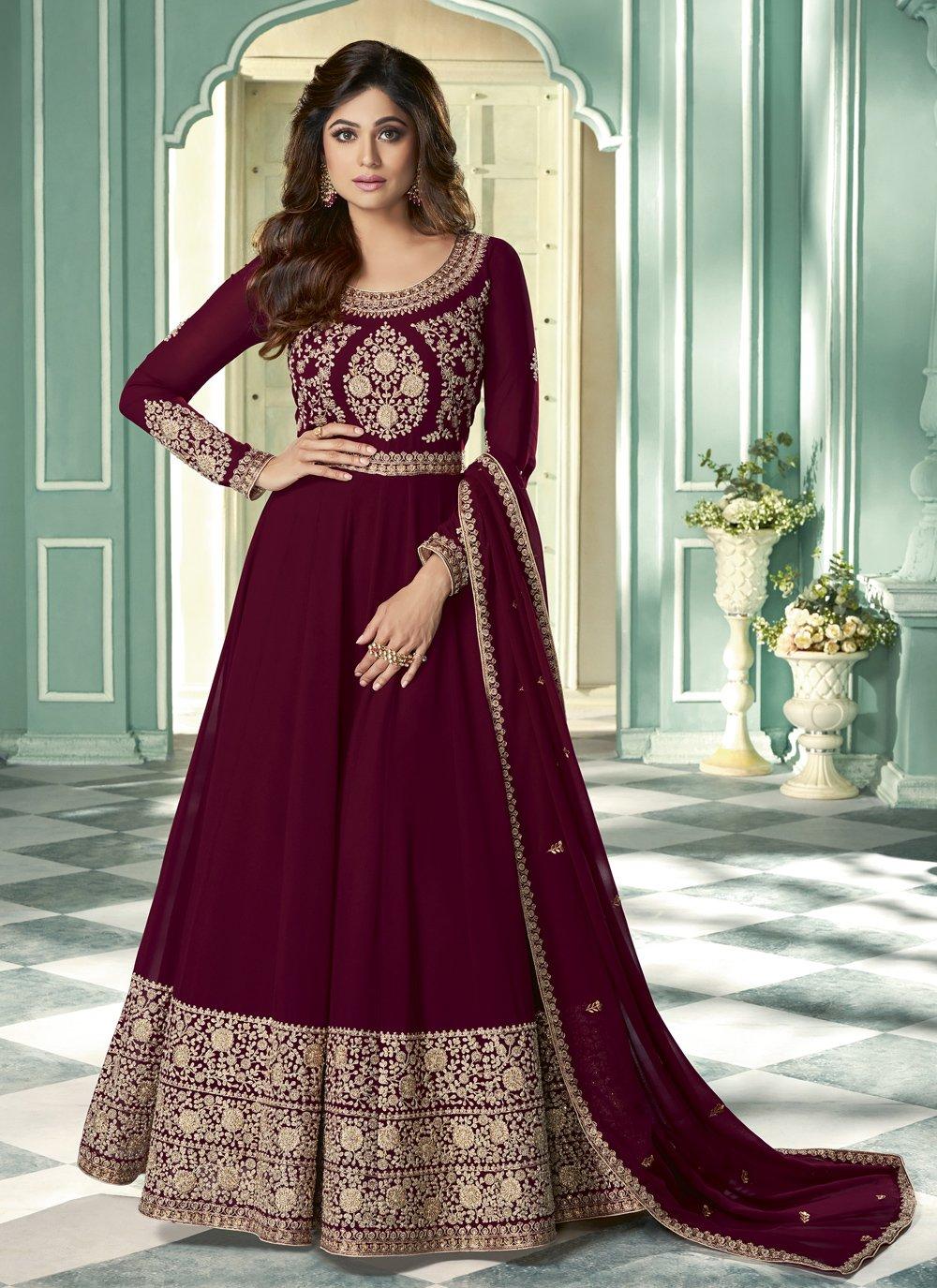 Shamita Shetty Faux Georgette Magenta Designer Suit