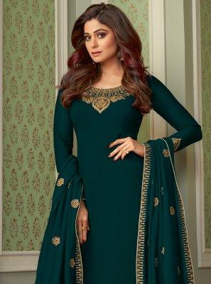 Shamita Shetty Faux Georgette Palazzo Designer Salwar Kameez