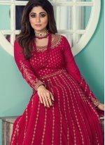 Shamita Shetty Faux Georgette Rani Designer Floor Length Suit